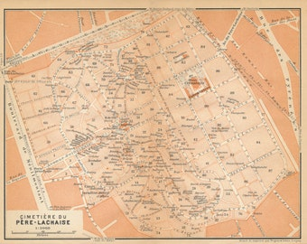 1910 Pere-Lachaise Cemetery, Paris France Antique Map