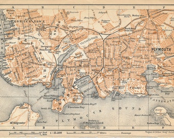 1910 Plymouth United Kingdom (Great Britain) Antique map