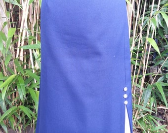 Vintage Royal Blue skirt with contrast white front-side kick pleat & button detail