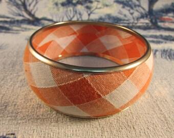 1980s does 1950s orange & white fabric gingham bangle, classic