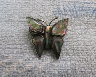 Art Deco Mexican Silver abalone butterfly brooch