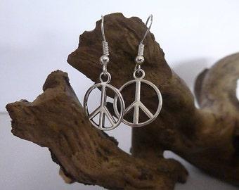 Pretty Peace Sign Earrings ,  Silver Earrings