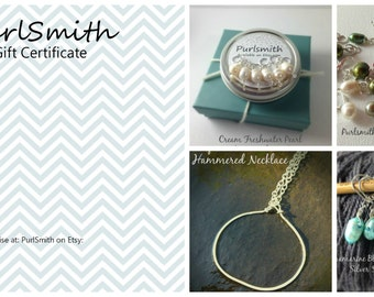 PurlSmith Gift Certificate for 20 Dollars - Free Shipping!