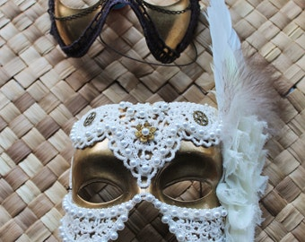 Steampunk couples wedding masks in gold, with lace, pearls, chiffon flowers and feathers