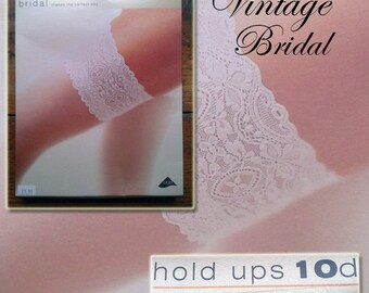 Vintage 10 Denier Bridal Hold-Ups, Size Small, ivory