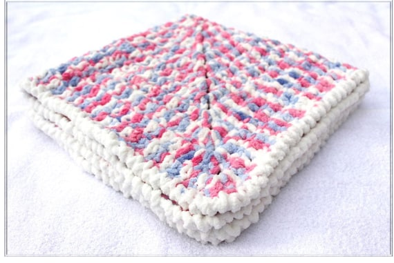 Crochet Chenille Baby Blanket Pattern : Pink Lavender Baby Blanket Crochet Baby by ...