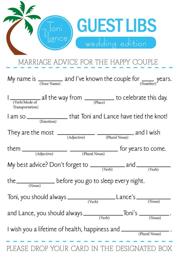 Wedding mad libs wedding guest book can also be used for a for Guest libs wedding edition template