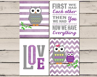 Purple Nursery Decor, Purple Nursery Art, Purple Nursery Wall Art, Baby girl Purple Nursery, Gray and purple, Purple owl nursery, Printable