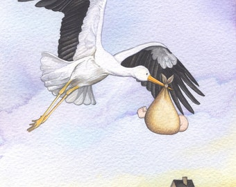 Stork Carrying Baby painting - mounted print of original watercolour and gouache painting