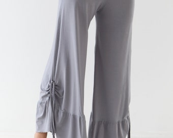 WIDE LEGS DANCE Pants with Cinched Drawstring Detail - Yoga to dance pants - loose pants - palazzo pants