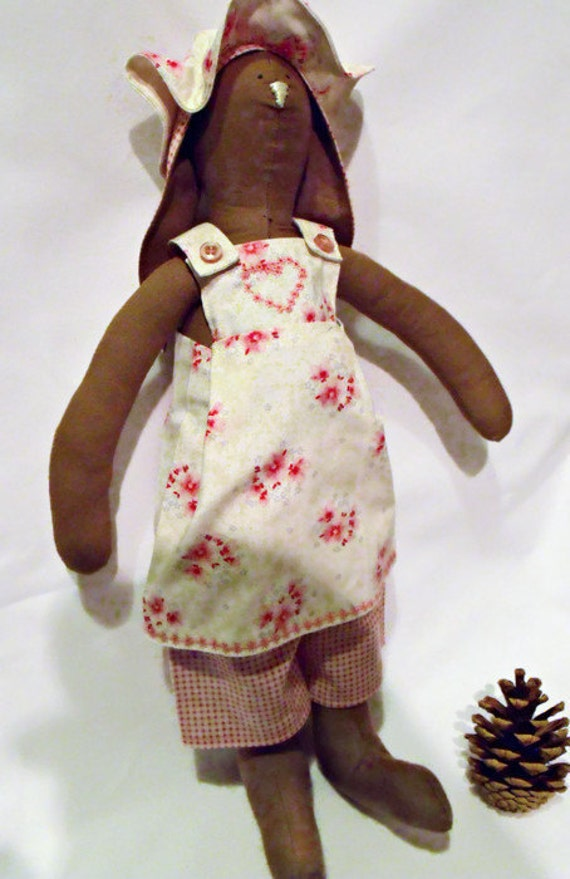 """brown Tilda style bunny, plush rag doll, collectable doll, home or nursery decor 14"""" tall, rabbit doll wearing a pink floral outfit,"""
