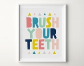 Printable Kids Art, Bathroom Prints, Brush Your Teeth, Nursery Print, Art for Kids, Printable Print, Digital Download