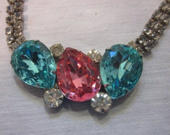Vintage Turquoise and Fucshia rhinestone necklace