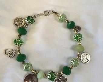 Emerald and Jade Zen Charm Bracelet