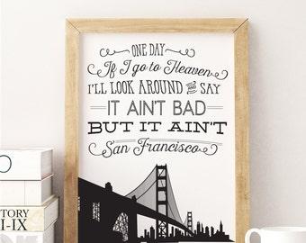 San Francisco Art Print - Golden Gate Bridge - Typography Poster