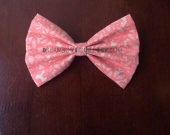Pink Hair Bow, Floral Hair Bow, Flower Hair Bow