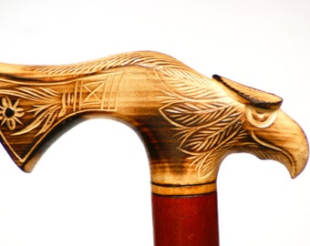 Eagle wooden walking cane, hand carved wooden walking stick, wooden cane eagle handle, walking cane, walking stick, wood walking stick cane
