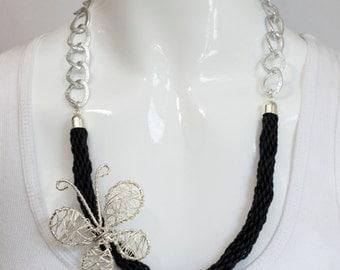 Butterfly Necklace, Black Necklace, Black tubular knitted necklace, Silver Butterfly necklace, Wired butterfly,