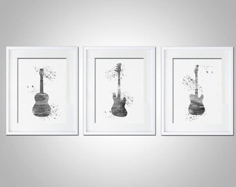 Watercolor Art Print Bass Guitar Set of 3 Modern 5x7 8x10 11x14 Wall Art Decor Illustration Gift Black & White Rock and Roll Gift Print
