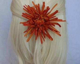 Orange hair clip - orange flower clip - orange clip - wedding hair clip - prom hair clip - flower hair clip - bridal hair piece