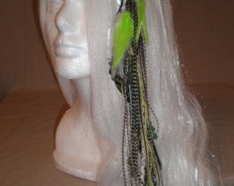 Neon Green and Black Long Feather Hair Clip
