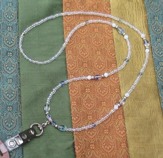 Id Card Beads: Clear Czech Glass Beaded ID Lanyard Badgeholder Security ID