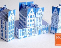 Delft Blue Printable Favor Boxes | Dutch Canal House | INSTANT Download, Printable Gift Box Template, DIY Gift Boxes, Amsterdam, Netherlands