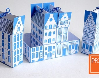 Printable Gift Box Template - Dutch Canal House - Digital PDF Packaging , Instant Download , Netherlands, DIY City , Housewarming, Amsterdam