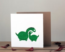 Dinosaur card | Super cute dinosaur greetings card | Green dino card | Childrens birthday card, kids card