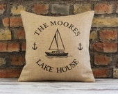 lake house pillow, lake house, lake house decor, burlap pillow cover, lake decor, personalized pillow, lake pillow, cabin pillow, lake