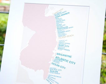 Jersey Shore Map - List of New Jersey Shore Towns  - Places Down the Shore - Modern, Hipster, Handmade Cartography