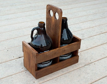 Beer Growler Carrier - Beer Caddy - Pallet Wood Growler Holder - Home Brewing - Beer Gift Idea - Gift For Him - Craft Beer Gift - Dad Gift