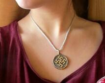 Bronze Baltic Latvian ancient sign pendant. Thunder cross pendant. Womens and mens bronze folk pendant. Circular pagan folk jewelry pendant.