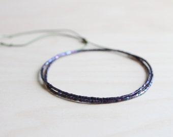 Very dainty wrap bracelet / purple silk thread bracelet / dainty bracelet / sparkling glass beads bracelet