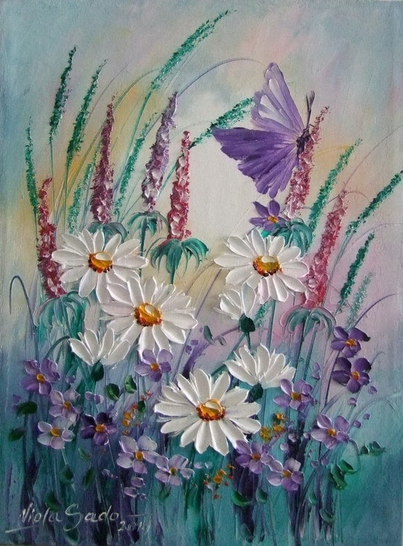 Items Similar To White Daisies Purple Butterfly Meadow Original Oil Painting Impression Impasto