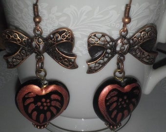 "Copper Bows With Heart Beads E 183 """"Copper Gift"""