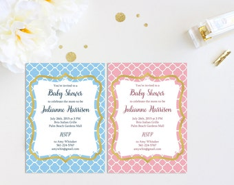 Quatrefoil Baby Shower Invitation - Blue, Pink, Gold, or Any Color - Customized Digital 5 x 7 Invitation