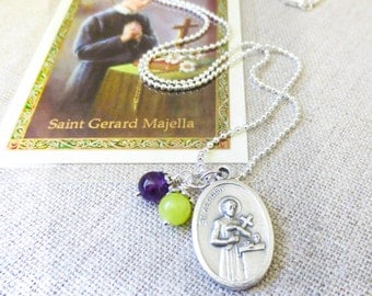 ST GERARD necklace, St of Happy Deliveries & Fertility Necklace - silver plated, includes laminated prayer for motherhood card