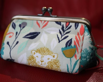 Cosmetic Clutch Bag/ Frame purse (gamaguchi) with leather strips- Lion animal pattern in Green - Gift for her;