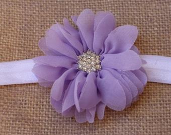 Sale, Lavender Ballerina Headband Lavender Purple Ballerina Flower  Rhinestone Center on your choice of Elastic Newborn- Adult Photoshoot