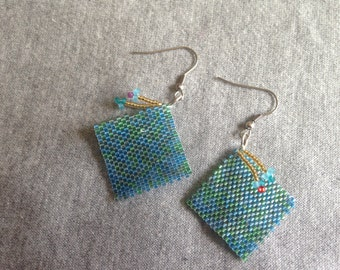 Blue Peyote Earrings