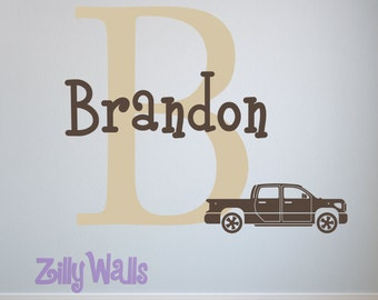 Truck Room Sticker Initial Wall Decal with Personalized Name Racing for Boys Girls Room Nursery Playroom Vinyl Decor