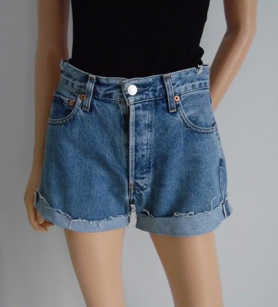 high waisted denim shorts levis 517 vintage blue jean shorts. Black Bedroom Furniture Sets. Home Design Ideas