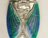Antique Insect Cicada Bug Beetle Scarab Moth Silver Plate and Enamel Set Vesta Case