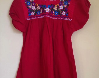 Red mexican top blouse embroidered girls flowers traditional colourful bright cinco de mayo day of the dead party hippie boho handmade