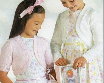 Girls Knitting pattern Girls Boleros Long Sleeve Bolero Short Sleeve Bolero 22-30 inch DK Childrens Knitting Pattern PDF Instant Download