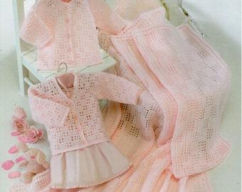 Baby Crochet Pattern Baby Crochet Cardigans Baby Crochet Shawl Girls Crochet Cardigans Crochet Square Shawl 16-26inchDK PDF Digital Download