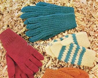 Childrens knitting pattern childrens gloves knitting pattern childrens mittens 2 needles 2 pins DK gloves pattern pdf instant download