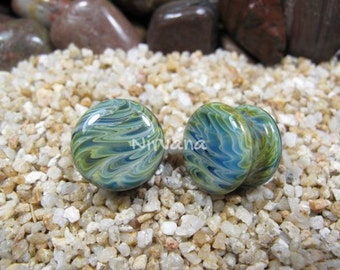 "Exotic Light Green Stone Plugs Pyrex Glass 00g 7/16"" 1/2"" 9/16"" 5/8"" 3/4"" 1""  9.5 mm 10 mm 12 mm 14 mm 16 mm 18 mm 20 mm 25 mm"
