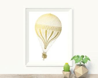 Hot Air Balloon Faux Gold Art Print - Travel Art Print - Wall Art - Office Decor
